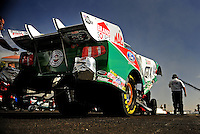 Feb. 19, 2010; Chandler, AZ, USA; NHRA funny car driver Ashley Force Hood during qualifying for the Arizona Nationals at Firebird International Raceway. Mandatory Credit: Mark J. Rebilas-