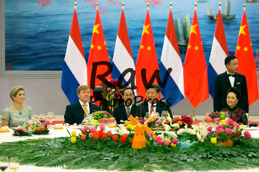 Sus Majetades los Reyes de Holanda visitan China y acuden a un banquete de gala.<br /> <br /> Beijing, 26-10-2015<br /> <br /> HM King Willem-Alexander and Z.E. Xi Jinging, President of China <br /> <br /> State Banquet at the Golden Hall<br /> 2nd day of the State Visit of HM King Willem-Alexander and HM Queen M&Atilde;&iexcl;xima to China from Sunday, October 25 - Thursday, October 29th, 2015<br /> <br /> RPE/Albert Nieboer/Netherlands OUT