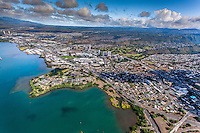 An aerial view of Pearl Harbor adjacent to Aiea and the more distant Pearl City, Central O'ahu.