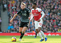 Burnley's Charlie Taylor chases down Arsenal's Ainsley Maitland-Niles<br /> <br /> Photographer David Shipman/CameraSport<br /> <br /> The Premier League - Arsenal v Burnley - Saturday 22nd December 2018 - The Emirates - London<br /> <br /> World Copyright © 2018 CameraSport. All rights reserved. 43 Linden Ave. Countesthorpe. Leicester. England. LE8 5PG - Tel: +44 (0) 116 277 4147 - admin@camerasport.com - www.camerasport.com