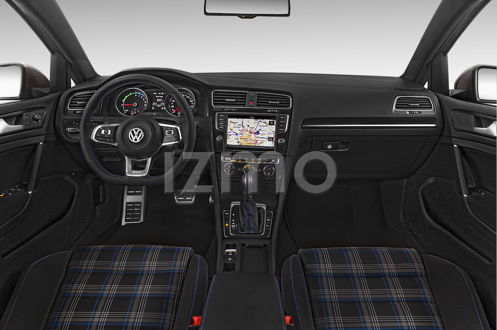 Stock photo of straight dashboard view of a 2015 Volkswagen Golf GTE 5 Door Hatchback 2WD Dashboard