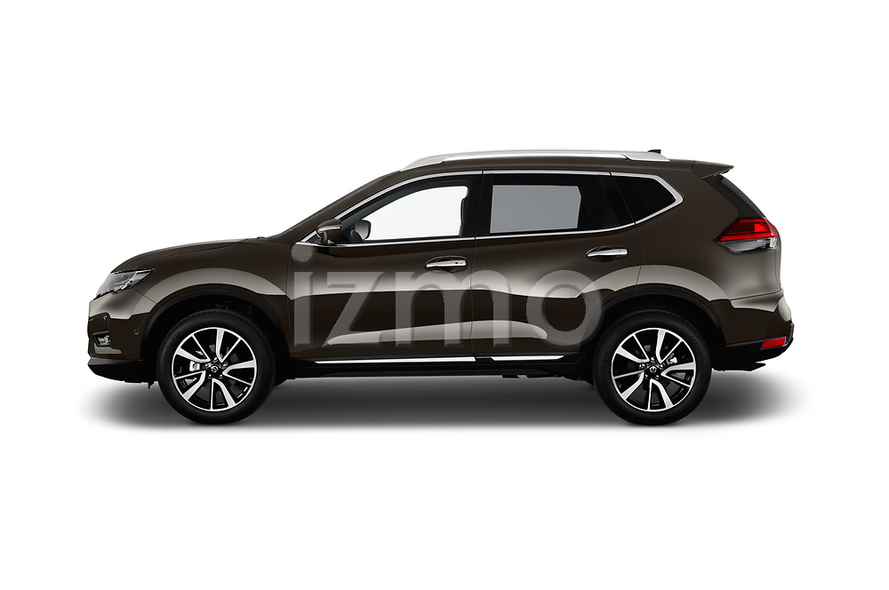 Car Driver side profile view of a 2018 Nissan X-Trail Tekna 5 Door SUV Side View