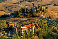 Belvedere House at sunset, San Quirico d'Orcia, Tuscany, Italy