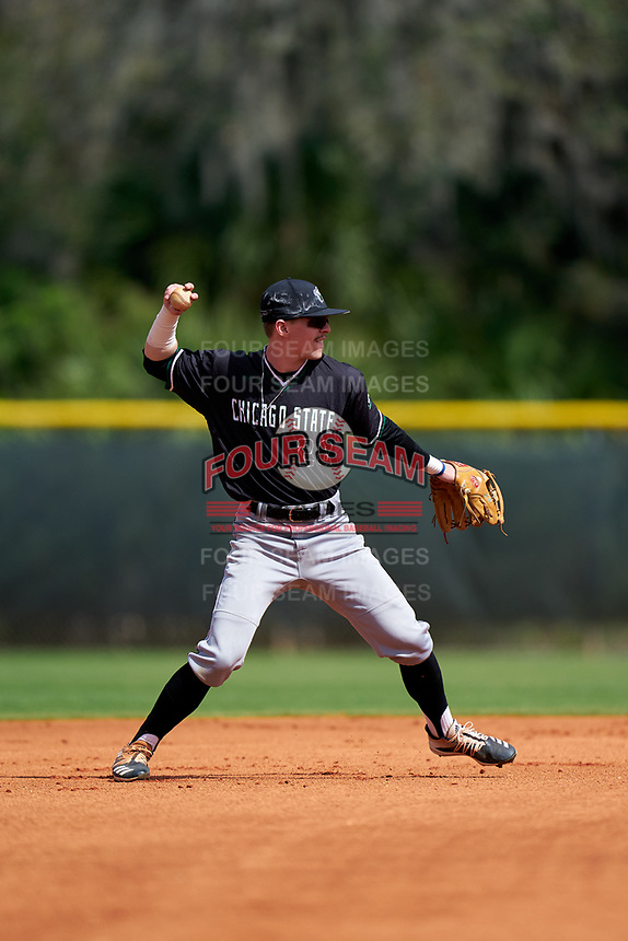 Chicago State Cougars shortstop Judah Wilbur (28) throws to first base during a game against the Indiana State Sycamores on February 23, 2020 at North Charlotte Regional Park in Port Charlotte, Florida.  Chicago State defeated Indiana State 3-0.  (Mike Janes/Four Seam Images)