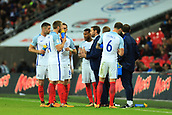 5th October 2017, Wembley Stadium, London, England; FIFA World Cup Qualification, England versus Slovenia; England Manager Gareth Southgate has a team talk as the ball goes out of play