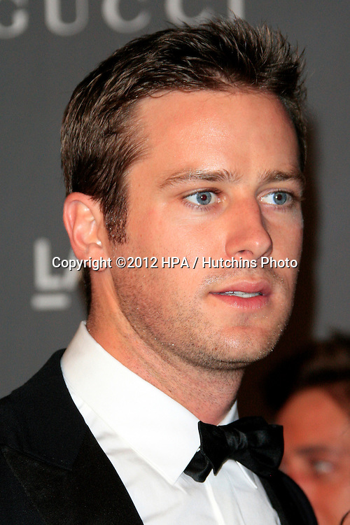 LOS ANGELES - OCT 27:  Armie Hammer arrives at the LACMA 2012 Art + Film Gala at Los Angeles County Musem of Art on October 27, 2012 in Los Angeles, CA