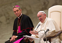Papa Francesco incontra il Movimento Eucaristico Giovanile in Aula Paolo VI, Citta' del Vaticano, 7 agosto 2015.<br /> Pope Francis attends an audience to the Eucharistic Youth Movement in the Paul VI hall at the Vatican, 7 August 2015.<br /> UPDATE IMAGES PRESS/Riccardo De Luca<br /> <br /> STRICTLY ONLY FOR EDITORIAL USE