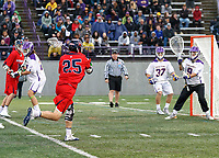 Mitch Goldberg (#25) shoots at goalkeeper JD Colarusso (#9) and the Albany net as UAlbany Men's Lacrosse defeats Richmond 18-9 on May 12 at Casey Stadium in the NCAA tournament first round.