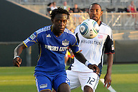 Kei Kamara, Cory Gibbs #12...Kansas City Wizards defeated New England Revolution 4-1 at Community America Ballpark, Kansas City , Kansas.