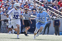 Annapolis, MD - May 20, 2018: Johns Hopkins Blue Jays Joel Tinney (55) is being defended by Duke Blue Devils Greg Pelton (19) during the quarterfinal game between Duke vs John Hopkins at  Navy-Marine Corps Memorial Stadium in Annapolis, MD.   (Photo by Elliott Brown/Media Images International)