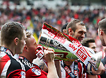 Mark Duffy of Sheffield United with the League One trophy during the English League One match at Bramall Lane Stadium, Sheffield. Picture date: April 30th, 2017. Pic credit should read: Jamie Tyerman/Sportimage
