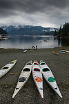 Canoes on a cloudy day. Deep Cove, Burrard Inlet, Vancouver, British Columbia, Canada.