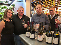 Melbourne, August 11, 2018 – Mark Horrigan with his daughter Maddie from Pimpernel wines at a tasting with Philippe Mouchel and Tim Sawyer at Phillipe Restaurant in Melbourne, Australia. Photo Sydney Low