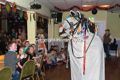 Mari Lwyd Llangynwyd near Bridgend Glamorgan bringing in the New Year December 31st 2012.<br />