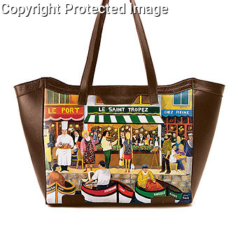 &quot;St. Tropez&quot;<br /> Leather Tote Bag by Icon Shoes<br /> Available at www.iconshoes.com<br /> Click: Artists-Guy Buffet-See Products by this Artist