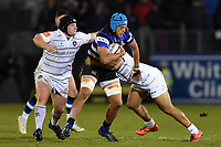 Zach Mercer of Bath Rugby takes on the Leicester Tigers defence. Anglo-Welsh Cup match, between Bath Rugby and Leicester Tigers on November 10, 2017 at the Recreation Ground in Bath, England. Photo by: Patrick Khachfe / Onside Images