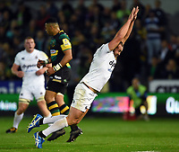 Tom Dunn of Bath Rugby looks to charge down a kick. Aviva Premiership match, between Northampton Saints and Bath Rugby on September 15, 2017 at Franklin's Gardens in Northampton, England. Photo by: Patrick Khachfe / Onside Images