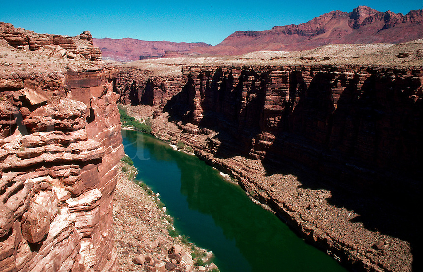 The north rim of the Grand Canyon and the Colorado River. Lee's Ferry, Arizona.