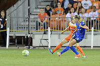Houston, TX - Sunday Sept. 25, 2016: Rebecca Moros, Beverly Yanez during a regular season National Women's Soccer League (NWSL) match between the Houston Dash and the Seattle Reign FC at BBVA Compass Stadium.