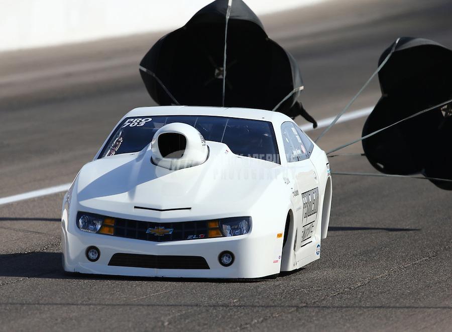 Apr 11, 2015; Las Vegas, NV, USA; NHRA pro stock driver Joey Grose during qualifying for the Summitracing.com Nationals at The Strip at Las Vegas Motor Speedway. Mandatory Credit: Mark J. Rebilas-