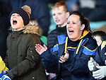 Clare fans cheer on their team during their NHL quarter final at the Gaelic Grounds. Photograph by John Kelly.