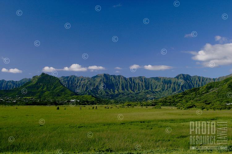 View of Kawainui Marsh (a wildlife sanctuary)and Koolau Mountains from windward Oahu.