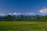 View of Kawainui Marsh (a wildlife sanctuary)and Koolau Mountains from windward Oahu.