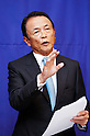 Taro Aso, Aug 27, 2016 : Japanese Finance Minister Taro Aso speaks during a press conference after a talks with his South Korean counterpart Yoo Il-ho (not seen in photo) at an office of the South Korean Government Complex Seoul in Seoul, South Korea. The bilateral meeting was the seventh talks between Japan and South Korea since 2006. The finance ministers from Japan and South Korea agreed on Saturday to resume a currency swap deal to strengthen bilateral economic cooperation, local media reported. (Photo by Lee Jae-Won/AFLO) (SOUTH KOREA)