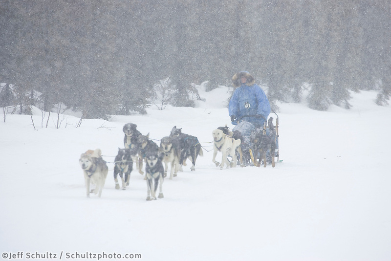 DeeDee Jonrowe Leaves Kaltag in Snowstorm AK 2005 Iditarod Winter