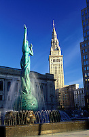 Cleveland, OH, Ohio, Victory Fountain in front of the South Mall of the Terminal Tower, a Beaux-Arts skyscraper
