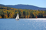 Enjoying an Afternoon of Sailing on Dublin Lake with a View of Mount Monadnock in New Hampshire USA