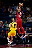 Washington, DC - June 14, 2019: Washington Mystics guard Shatori Walker-Kimbrough (32) goes up over Seattle Storm guard Sami Whitcomb (33) for a layup during game between Seattle Storm and Washington Mystics at the St. Elizabeths East Entertainment and Sports Arena in Washington, DC. The Storm hold on to defeat the Mystics 74-71. (Photo by Phil Peters/Media Images International)