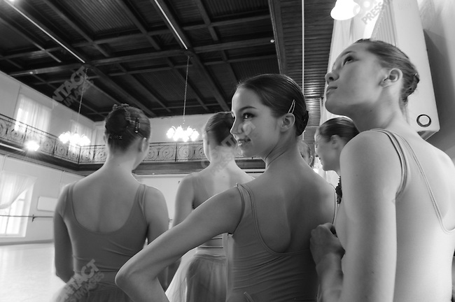 Students from the fourth and fifth years at the Vaganova Ballet Academy in St. Petersburg, prepared to perform at a dress reheasal of a stage performance at the school, part of the preparation the academy makes, even of young students, for performance on the real stage.  March 19, 2009