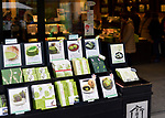 Traditional Japanese confectionery, matcha green tea treats and desserts, Miyagegashi souvenir sweets, on a store display in the city of Uji, Japanese capital of tea, Kyoto prefecture, Japan 2017