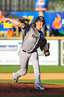Kane County Cougars pitcher Curtis Taylor (47) delivers a pitch during game one of a Midwest League doubleheader against the Wisconsin Timber Rattlers on June 23, 2017 at Fox Cities Stadium in Appleton, Wisconsin.  Kane County defeated Wisconsin 4-3. (Brad Krause/Four Seam Images)