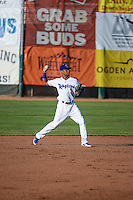 Deion Ulmer (3) of the Ogden Raptors on defense against the Idaho Falls Chukars in Pioneer League action at Lindquist Field on June 23, 2015 in Ogden, Utah. Idaho Falls beat the Raptors 9-6.(Stephen Smith/Four Seam Images)