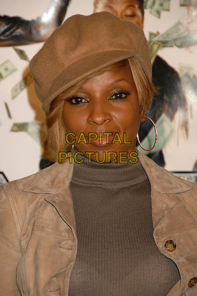 "MARY J. BLIGE.""Mad Money"" Los Angeles Premiere at Mann's Village Theatre, Westwood, California, USA..January 9th, 2008.headshot portrait beige hat hoop earrings polo neck .CAP/ADM/BP.©Byron Purvis/AdMedia/Capital Pictures."