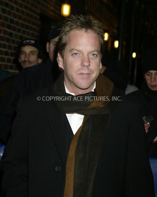WWW.ACEPIXS.COM . . . . .  ....NEW YORK, JANUARY 05, 2005....Kiefer Sutherland at Late Show with David Letterman.....Please byline: Ian Wingfield - ACE PICTURES..... *** ***..Ace Pictures, Inc:  ..Alecsey Boldeskul (646) 267-6913 ..Philip Vaughan (646) 769-0430..e-mail: info@acepixs.com..web: http://www.acepixs.com