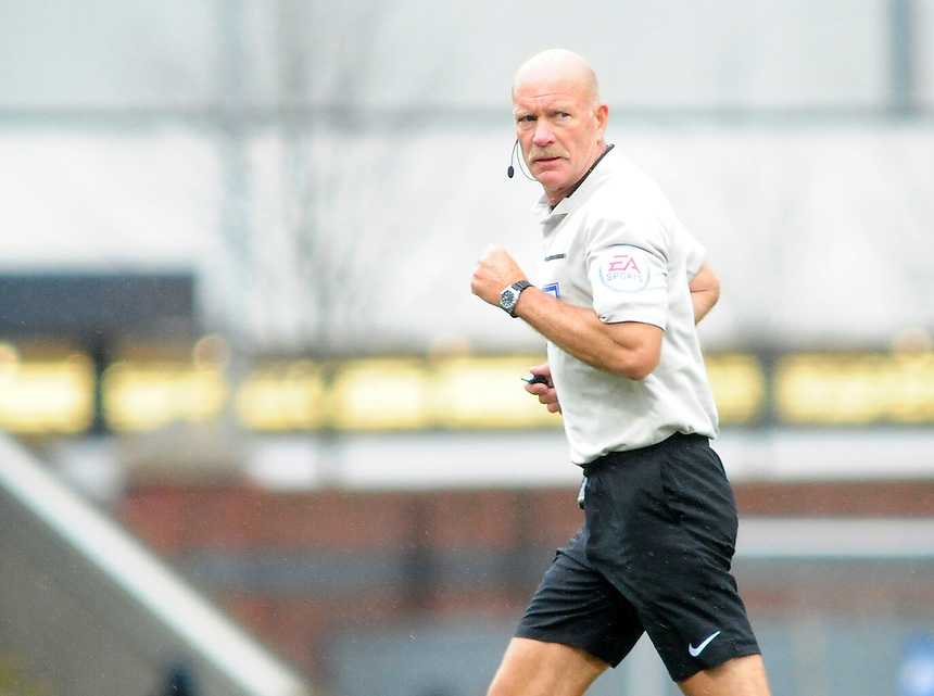Referee Nigel Miller<br /> <br /> Photographer Andrew Vaughan/CameraSport<br /> <br /> Football - The Football League Sky Bet League One - Chesterfield v Fleetwood Town - Saturday 26th March 2016 - Proact Stadium - Chesterfield    <br /> <br /> &copy; CameraSport - 43 Linden Ave. Countesthorpe. Leicester. England. LE8 5PG - Tel: +44 (0) 116 277 4147 - admin@camerasport.com - www.camerasport.com