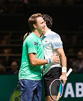 Rotterdam, The Netherlands, 16 Februari 2019, ABNAMRO World Tennis Tournament, Ahoy, Semis, Doubles, Jeremy Chardy (FRA) Henri Kontinen (FIN), Photo: www.tennisimages.com/Henk Koster