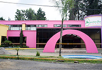 Drive by shooting, popular architecture, on the way to Malinalco, Estado de Mexico