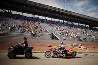 Mar. 30, 2012; Las Vegas, NV, USA: NHRA top Harley rider XXXX during qualifying for the Summitracing.com Nationals at The Strip in Las Vegas. Mandatory Credit: Mark J. Rebilas-