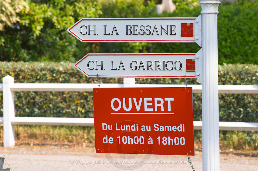 Road signs indicating the other chateaux owned by the same proprietor, Chateau la Bessane and La Garricq and showing the opening times Monday to Saturday 10 AM to 6 PM Chateau Paloumey Haut-Medoc Ludon Medoc Bordeaux Gironde Aquitaine France