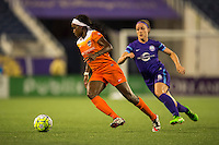 Orlando, FL - Thursday June 23, 2016: Chioma Ubogagu, Josee Belanger during a regular season National Women's Soccer League (NWSL) match between the Orlando Pride and the Houston Dash at Camping World Stadium.