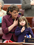 Nevada Assemblywoman Teresa Benitez-Thompson and her daughter Lillian say the Pledge of Allegiance on the Assembly floor Thursday, May 26, 2011, at the Legislature in Carson City, Nev. .Photo by Cathleen Allison
