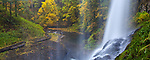 Silver Falls State Park, OR: View from behind Middle North Falls (106 ft) in Silver Creek Canyon in fall