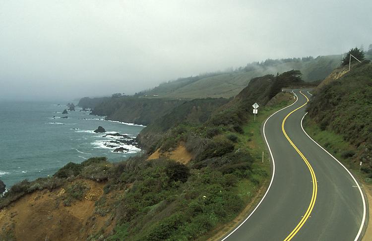 Driving up Highway One on the Mendocino Coast, Westport, California