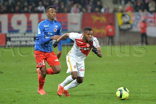 04.03.2016. Caen, France. French League 1 football. Caen versus Monaco.  THOMAS LEMAR (mon) breaks away from Jordan NKOLOLO (caen)