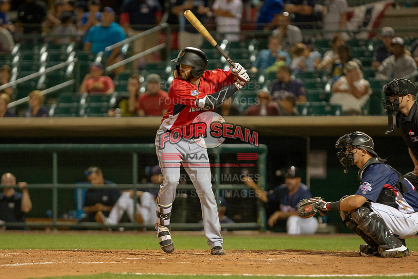 Nick Zammarelli III (25) of the Modesto Nuts at bat against the South Division during the 2018 California League All-Star Game at The Hangar on June 19, 2018 in Lancaster, California. The North All-Stars defeated the South All-Stars 8-1.  (Donn Parris/Four Seam Images)