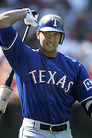 Alex Rodriguez of the Texas Rangers waits to hit during a 2002 MLB season game against the Los Angeles Angels at Angel Stadium, in Los Angeles, California. (Larry Goren/Four Seam Images)